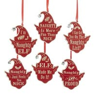"""Pack of 24 Red and White Naught Elf Head Silhouette with Jingle Bell Christmas Ornaments 3.5"""""""