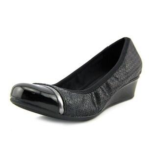 Easy Spirit Desire Women Open Toe Leather Black Wedge Heel