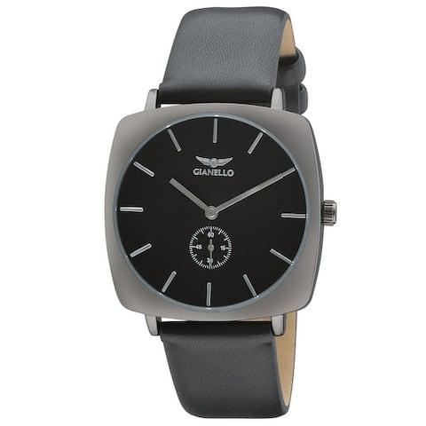 Gianello Mens Copenhagen Split Second Hand Vegan Leather Strap Watch
