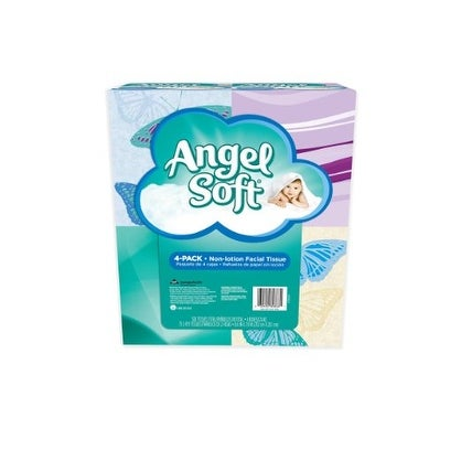 Angel Soft Facial Tissue, 4-Boxes, White, 75ct. each (Packaging May Vary)