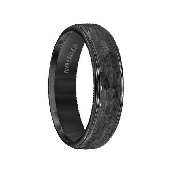 BRAITH Raised Hammer Finished Center Black Tungsten Carbide Wedding Band with Polish Finished Step Edges by Triton Rings - 6mm