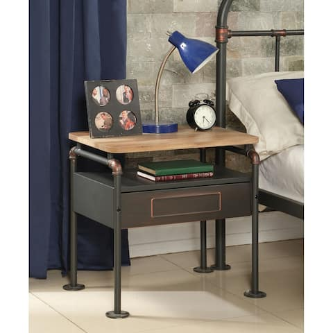 ACME Nicipolis Nightstand in Sandy Gray and Antique Oak