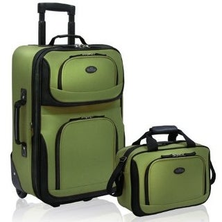 U.S Traveler Rio carry-on lightweight expandable rolling luggage suitcase set (15-Inch and 21-Inch), Green