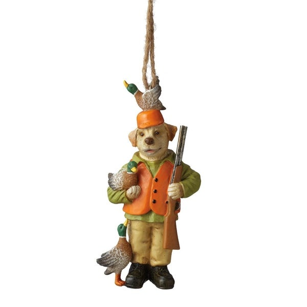 """4.5"""" Dog Duck Hunter in Orange Gear with Rifle Christmas Ornament"""