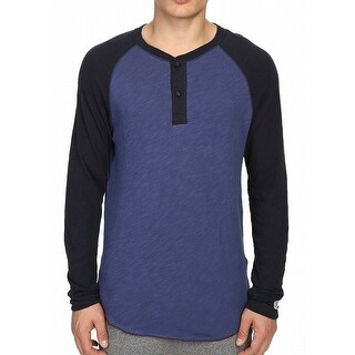 Champion NEW Blue Mens Size Large L Colorblock Baseball Henley Shirt