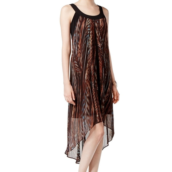 SLNY NEW Black Brown Women's Size Small S Asymmetrical Hem Dress