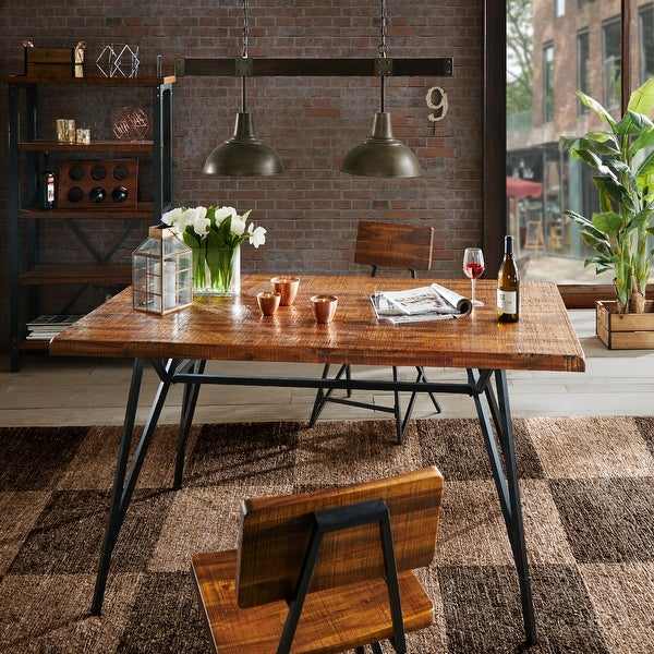 INK+IVY Reclaimed Brown Wood Gunmetal Trestle Dining Table. Opens flyout.