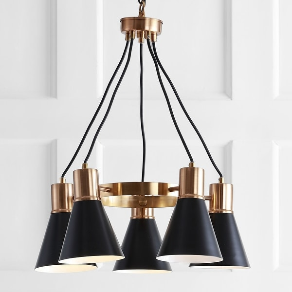 """Markle 22"""" 5-Light Metal LED Cluster Pendant, Black/Brass Gold by JONATHAN Y. Opens flyout."""