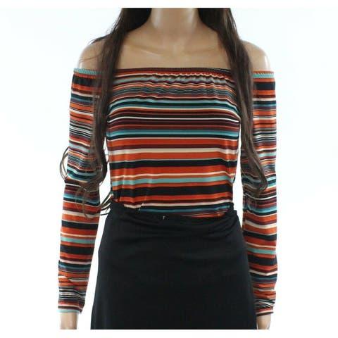 Polly & Esther Orange Women's Size Large L Striped Bodysuit Knit Top