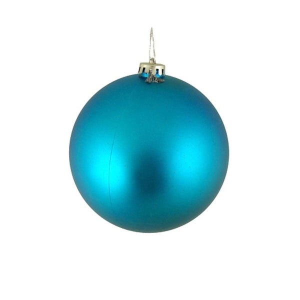 "Shatterproof Matte Turquoise Blue Christmas Ball Ornament 4"" (100mm)"