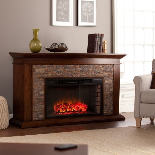 Copper Grove Horse Mountain 60-inch Simulated Stone Electric Fireplace. Opens flyout.
