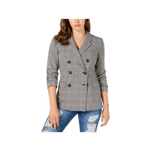 Guess Womens Alexa Double-Breasted Blazer Plaid Casual