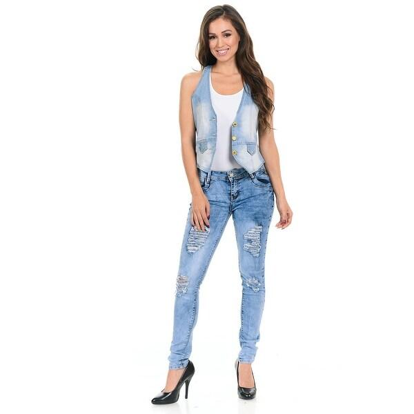 afa17a4b91f Shop M.Michel Women s Denim Vest - 280 - Color - Light Blue - Size ...