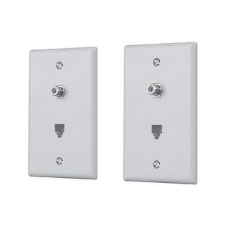 Monoprice Combo Phone/Video Jack Plate - White (2 pack)