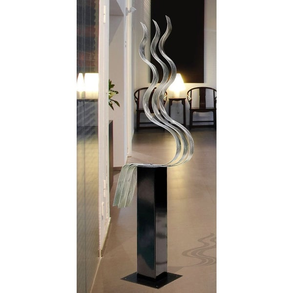Statements2000 Large Silver Abstract Metal Sculpture Garden Art Yard Decor by Jon Allen - Transitions - 24 inch base