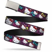 Blank Chrome Bo Buckle Hello Kitty Multi Face W Stripes Bows Black Web Belt