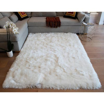 Glorious Collection 3-inch Pile Large Shag Area Rug White Color