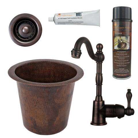 Premier Copper Products BSP4_BR12WDB-B Bar Sink, Faucet and Accessories Package