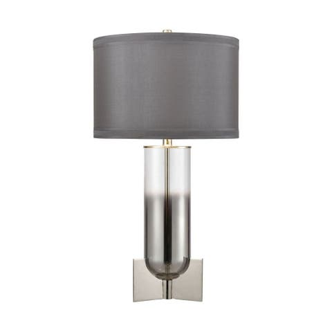 Clear Chrome Table Lamp Made Of Glass And Metal With A Grey Silver Faux Silk Fabric Shade With A - Clear Chrome