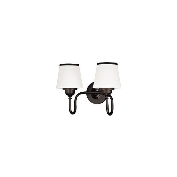 Vaxcel Lighting W0205 Kelsy 2-Light Vanity Light with White Glass Shades - noble bronze