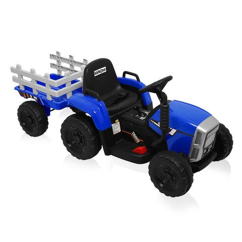 Kidzone 12V Kid Electric Tractor W/ Trailer Ride On 2-Speed, 5 Colors - standard