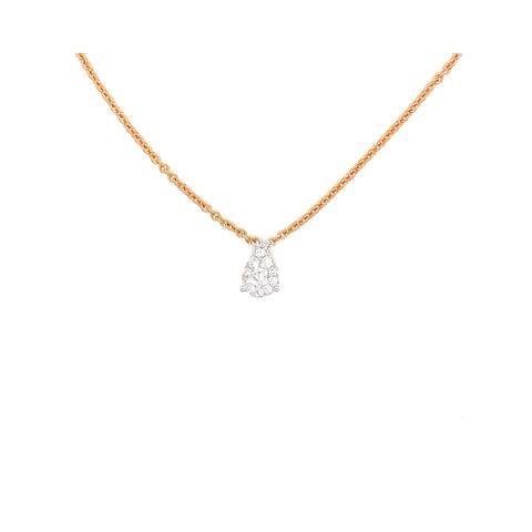Kabella Gold Round Diamonds Teardrop Shaped Necklace