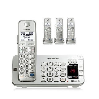 Panasonic Link2Cell Bluetooth KX-TGE274S 4 Handsets Corldess Phone w/ Intelligent Eco Mode, Silver