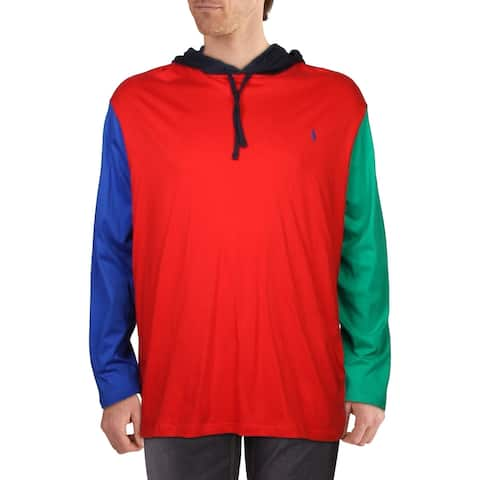 Polo Ralph Lauren Mens Big & Tall Hoodie Colorblock Hooded - Red Multi - 3XB