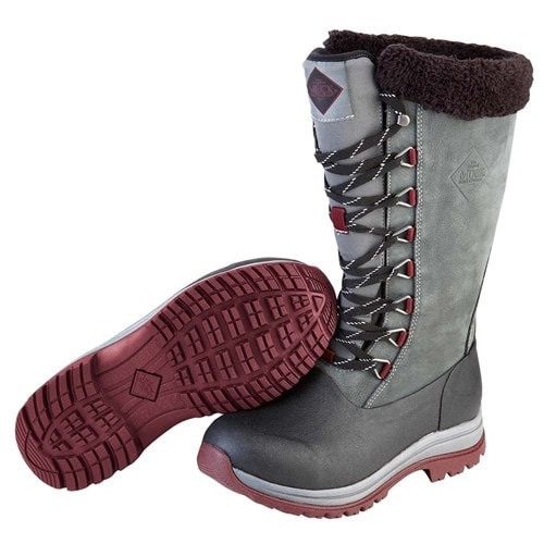 Muck Boots Gray/Wine Women's Arctic Apres Lace Tall Boot - Size 7