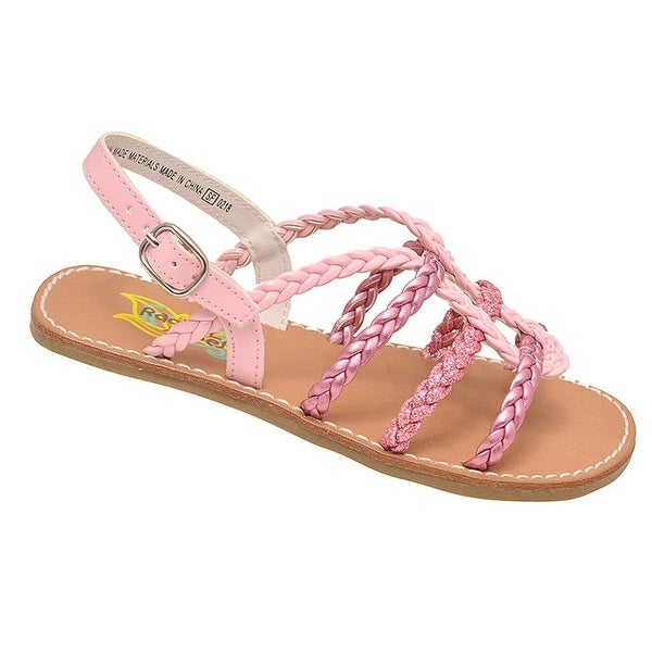 2ac6f4c4fe6e Shop Rachel Shoes Girls Pink Braided Strap Buckled Open Toe Sandals ...