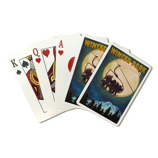 Winter Park, Colorado - Ski Lift and Full Moon - Lantern Press Artwork (Poker Playing Cards Deck)