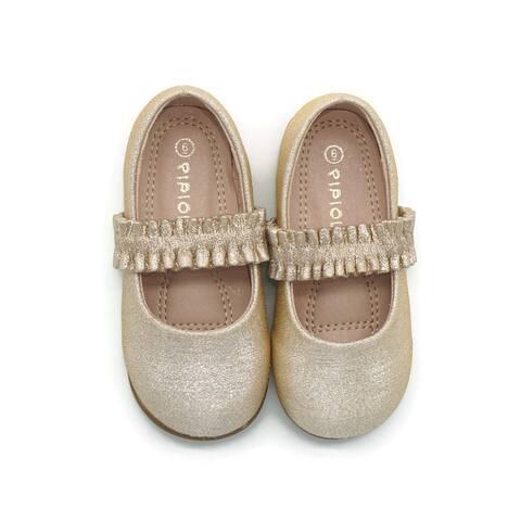 Pipiolo Girls Gold Elastic Strap Mary Jane Ballerina Flats