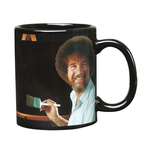 Bob Ross Heat Changing Mug - Ceramic 11 oz. - Painting Color Comes to Life when Hot Liquid is Added - Multicolor