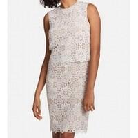 3da4c97c Shop Jessica Simpson White Womens Size 2 Floral Lace Sheath Dress ...