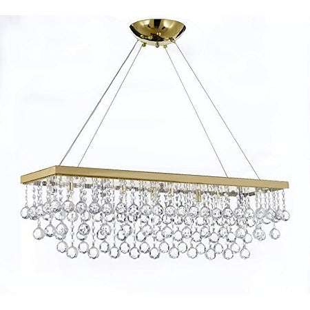 10 Light 40 Crystal Rectangular Chandelier With