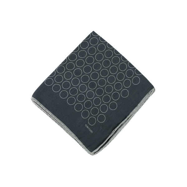 Tom Ford Mens Grey Outlined Circles Pocket Square