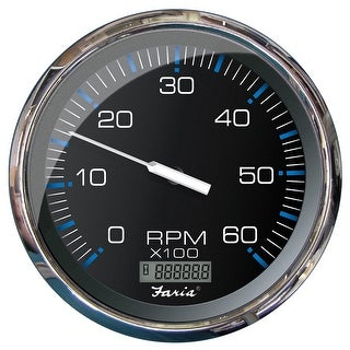 Faria 5 Tachometer W Digital Hourmeter 6000 RPM Gas Inboard Chesapeake Black W Stainless Steel