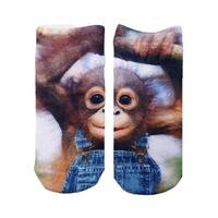 Living Royal Photo Print Ankle Socks: Monkeying Around - Multi