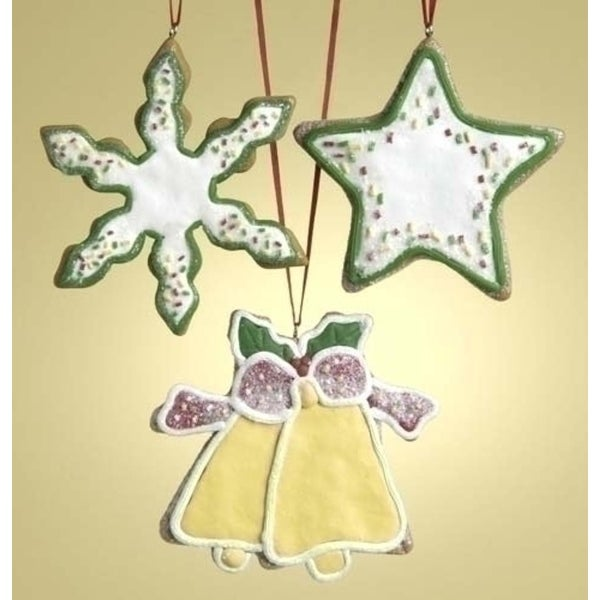 "Set of 12 Snowflake Star Bell 3.5"" Cookie Ornaments to Personalize #26726"