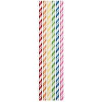 """Club Pack of 144 Multi-Colored Candy Striped Paper Drinking Straw Party Favors 7.75"""" - Multi"""