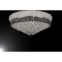 Flush French Empire Crystal Chandelier Lighting Trimmed with Jet Black Crystal