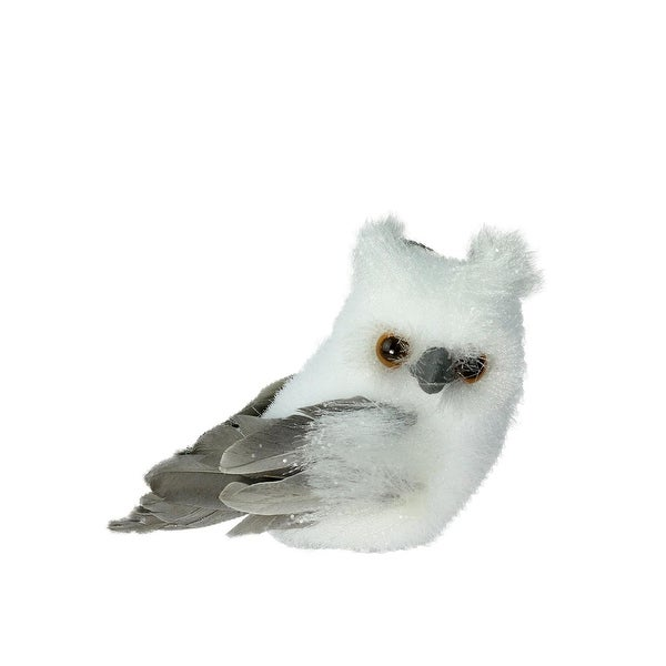 """4.5"""" Sparkling White and Gray Horned Owl Christmas Tabletop Decoration"""
