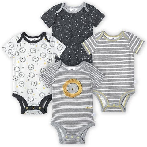 Just Born® Baby Boys' 4-Pack Organic Short Sleeve Lil' Lion Bodysuits