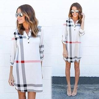 Casual Loose Women's Plaid Asymmetric Plaid Blouse Dress