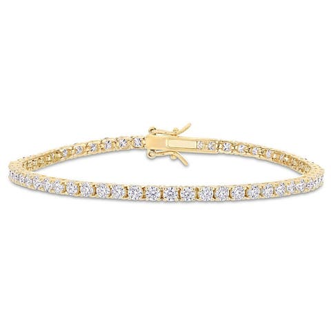 Miadora 5 5/8ct TGW Created Moissanite Tennis Bracelet in Yellow Plated Sterling Silver