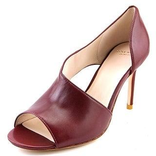 Cole Haan Viveca OT. Pump Women Open-Toe Leather Burgundy Heels