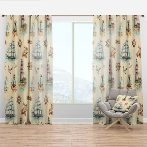 Designart 'Watch tower, binocular, sail boat' Coastal Curtain Panel