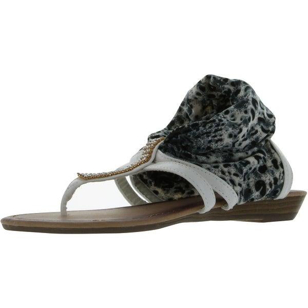 Anna Women's Lion-18 Fashion Flat Sandals - White