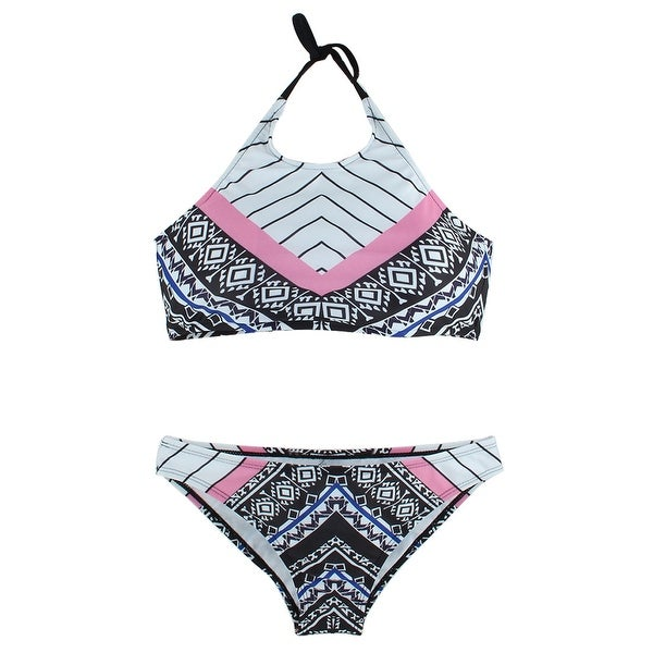 Women Swimming Geometric Pattern Bikini Swimsuit Bathing Suits Set White L Overstock 17608755