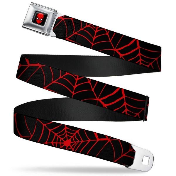 Marvel Comics Spider Man Full Color Seatbelt Belt Spider web Black Red Seatbelt Belt
